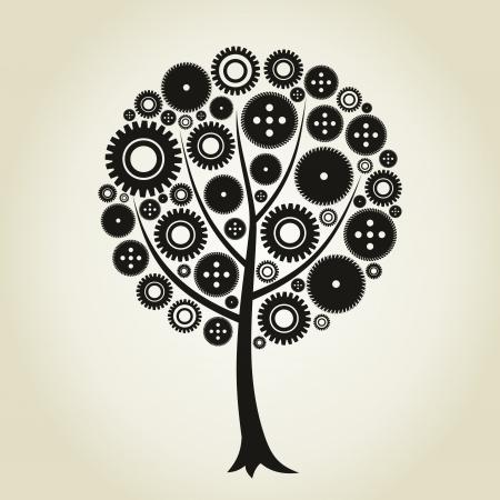 arboles de caricatura: �rbol de una rueda dentada Una ilustraci�n vectorial Vectores