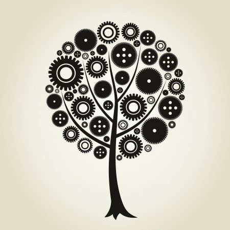 small group of object: Tree from a gear wheel  A vector illustration Illustration