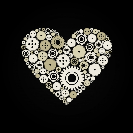 organization design: Heart from a gear wheel on a black background  A vector illustration