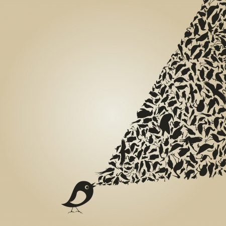 The bird sings animals Vector