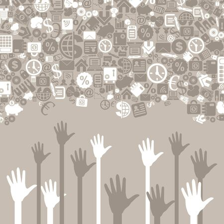 Hands to reach business for subjects Vector