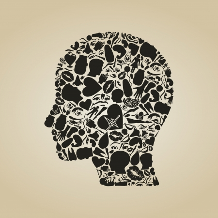 Head of the person from body parts Vector