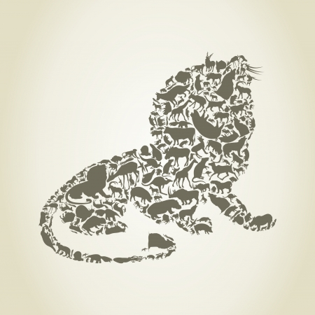 Lion collected from animals Vector