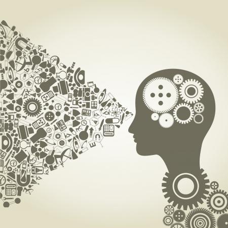 Der Kopf der Person besteht aus Objekten der Wissenschaft Illustration