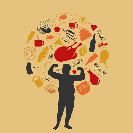 fat man: Productos nocivos de los alimentos alrededor del hombre gordo Una ilustraci�n Vectores