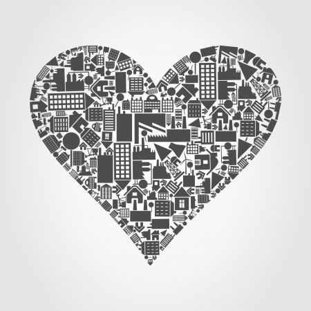 Heart from houses and buildings  A vector illustration Vector