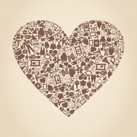 bandaging: Heart from medicine subjects  A vector illustration Illustration