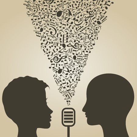 duet: The man and the girl sing a duet  A  illustration