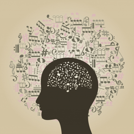 Musical notes round a head of the person  A vector illustration Vector