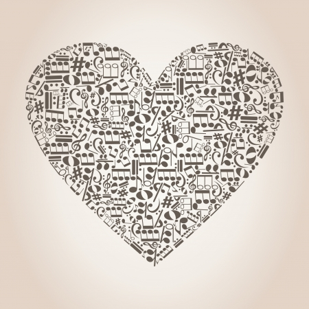 Heart collected from musical notes  A vector illustration Stock Vector - 14637366