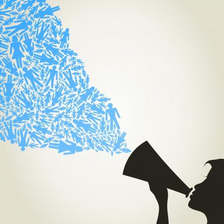 Von einem Megaphon auf das Mädchen fliegen Menschen eine Vektorgrafik Illustration