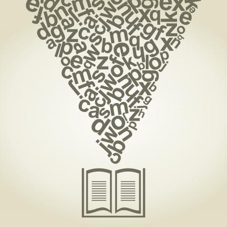 notebook icon: Lettere decolla dal libro. Vettoriali