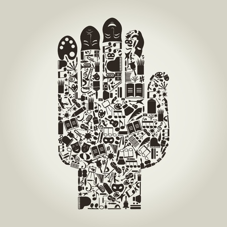 Hand from art subjects. Vector
