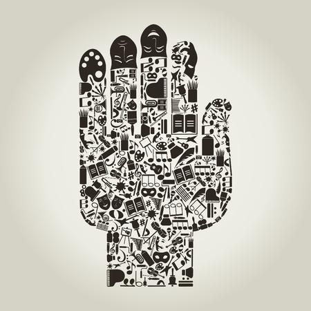 manos sucias: Mano de temas de arte.