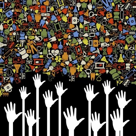 Hands reach for medicine. Stock Vector - 14764475