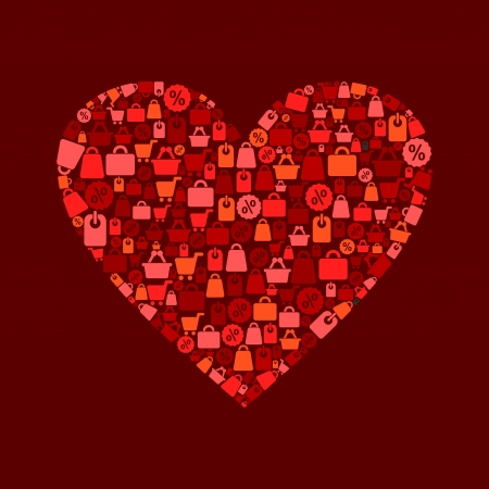 Red heart on a theme sale   Stock Vector - 14764366