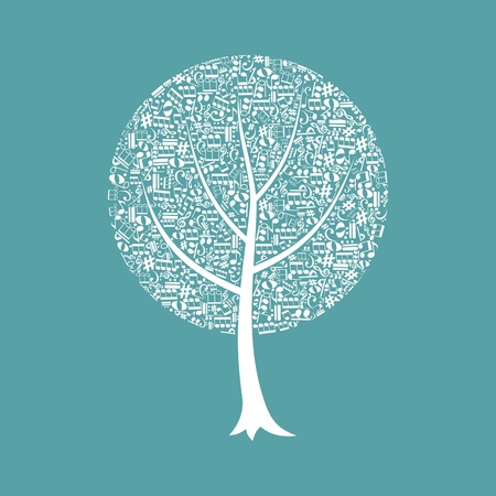 Tree on a theme music   Vector