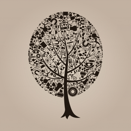 Tree on a theme a science   Vector