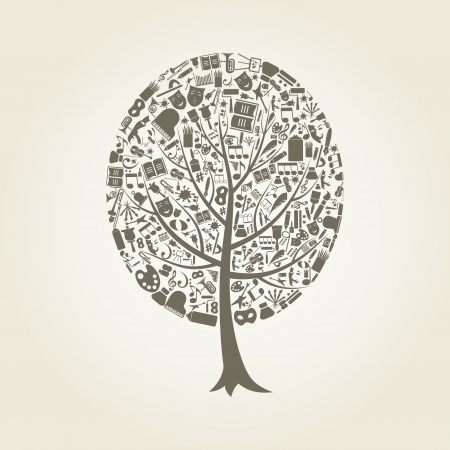 flat leaf: Tree on a theme art  Illustration