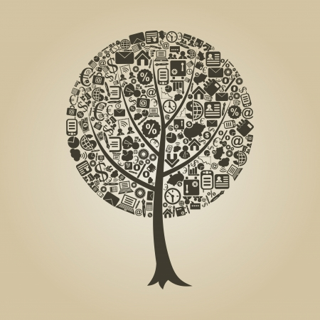 Tree on a theme business  Vector