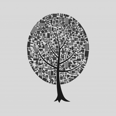 Tree on a theme a building   Vector