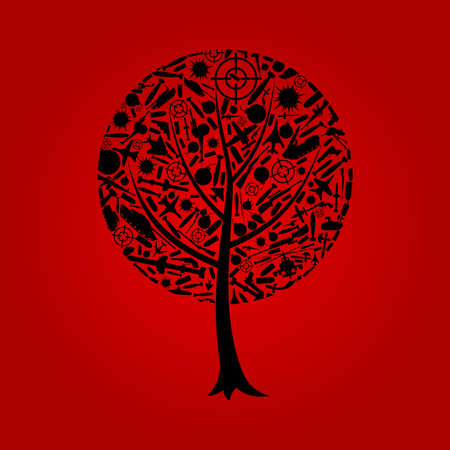 Tree on a theme war   Vector