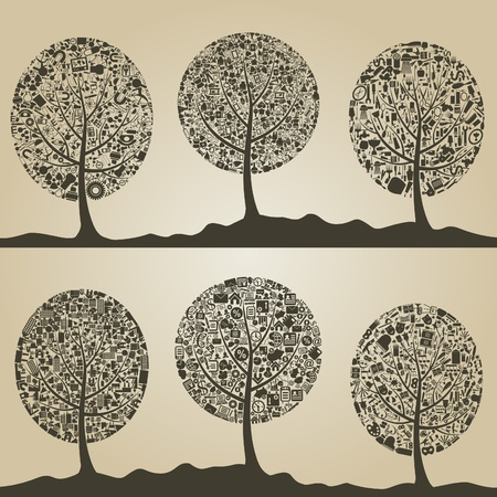 Set of trees for design  Vector