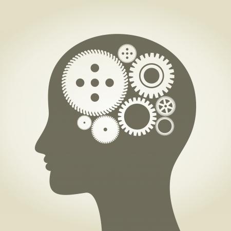 thinking machine: Rueda de engranaje en una cabeza de la persona