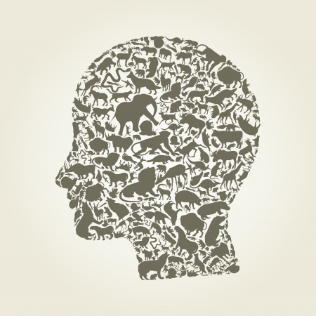 Head of the person made of animals  Vector