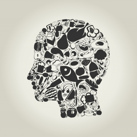 Head of the person made of food   Ilustrace