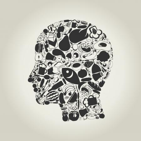 Kopf der Person von Lebensmitteln gemacht