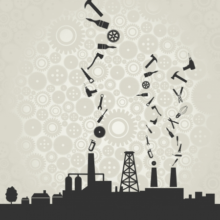 Silhouette of factory and the tool from pipes  Stock Vector - 14764567