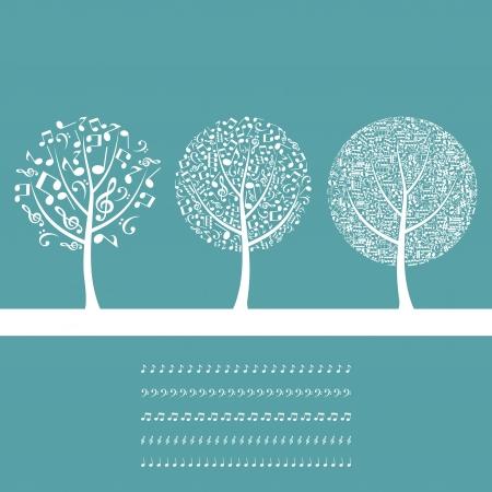 Drei musikalische Bäumen auf blauem Hintergrund