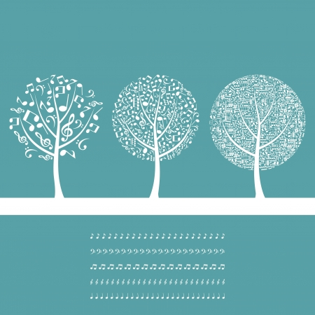 Three musical trees on a blue background   Illustration