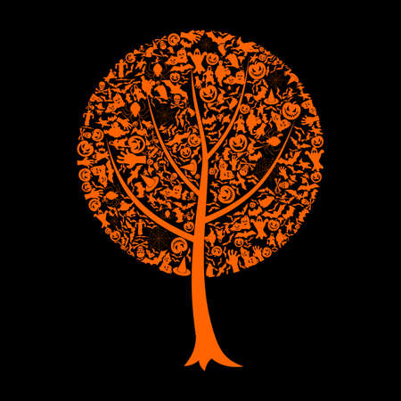 witch silhouette: Tree made from Halloween