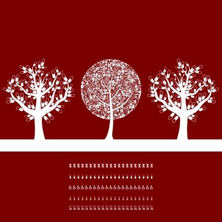 Three medical trees on a red background  A vector illustration Stock Vector - 14764562