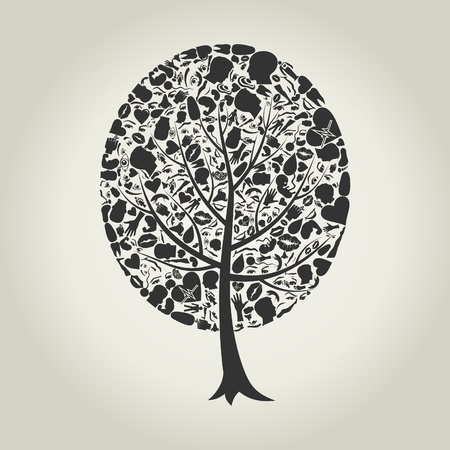 Tree made of body parts  A vector illustration Vector
