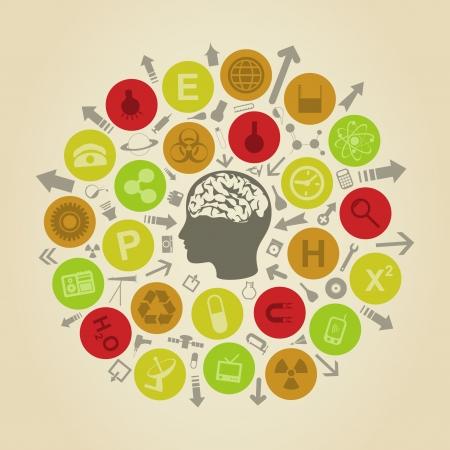 head phone: Los objetos de la ciencia una ronda la cabeza de la persona Una ilustraci�n vectorial