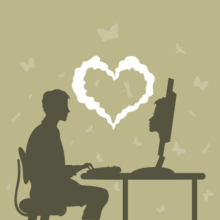 acquaintance: The man gets acquainted on the Internet  A vector illustration