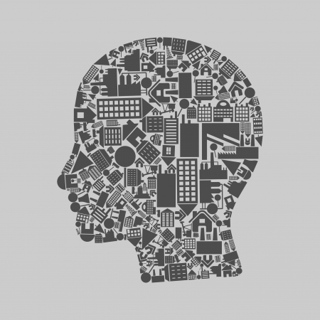Head made of houses  A vector illustration Stock Vector - 14884167