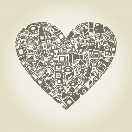 gas cooker: Heart made of electronics  A vector illustration