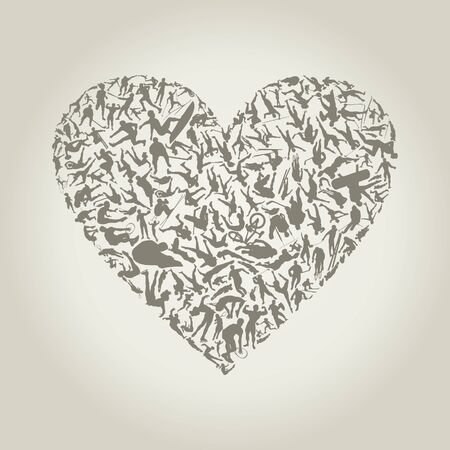 Heart made of sportsmen  A vector illustration Vector