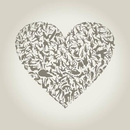 struggle: Heart made of sportsmen  A vector illustration