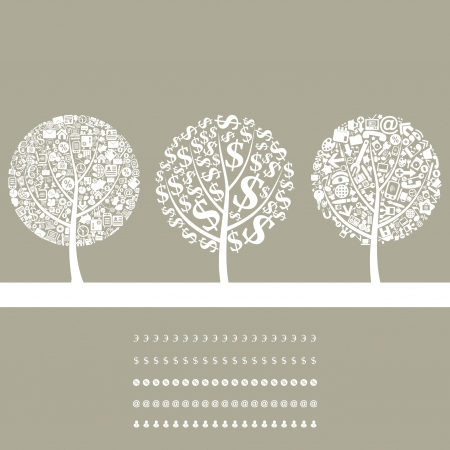 Three trees on a theme business  A vector illustration Vector