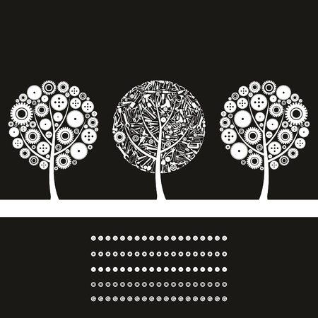 drill: Three trees on a theme the industry  A vector illustration Illustration