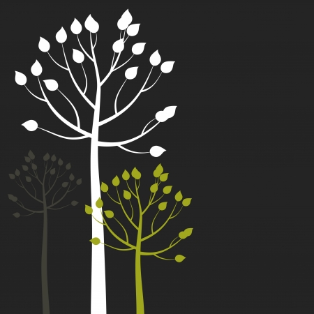 ash tree: Three trees on a grey background  Illustration