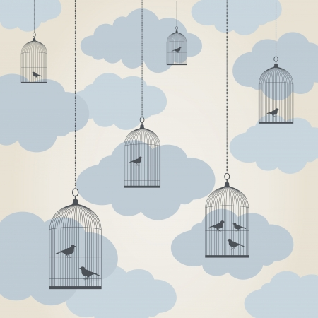 Bird in a cage against the sky Illustration