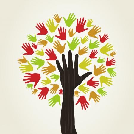 Árbol en la forma de una mano de la persona Ilustración de vector