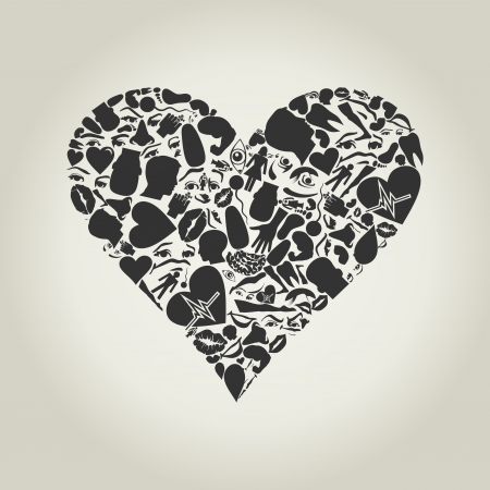 Heart made of body parts Vector