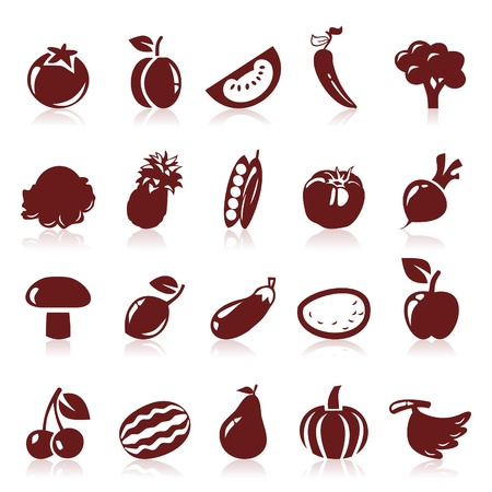 coco: Set of icons on a theme fruit Illustration